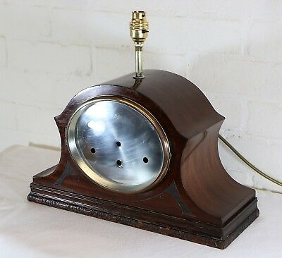 An Antique Large Wooden Mantle Clock Table Lamp Desk Lamp With A Polished Face