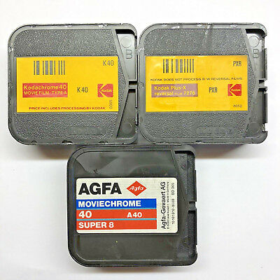 3 x Super 8 Movie Film Cartridge Kodachrome Agfa Moviechrome Plus-X USED EXPOSED