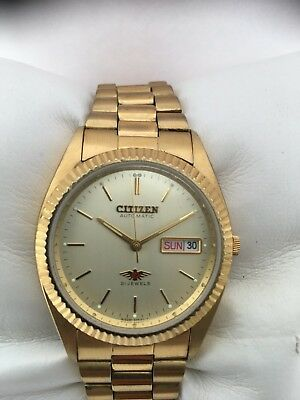 Citizen Men's Analogue Automatic 21 Jewels Day/ Date Gold Plated Watch 060881