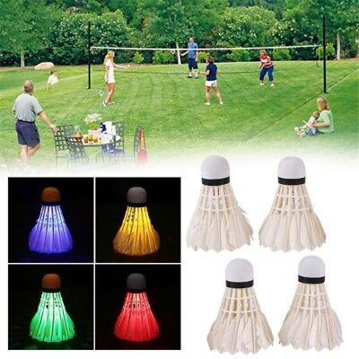 4pcs/set LED Badminton Night Glow Shuttlecock Touch Button Outdoor Indoor Sports