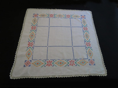 Vintage Hand Embroidered Cross Stitch Linen Supper Cloth - Vintage Linen