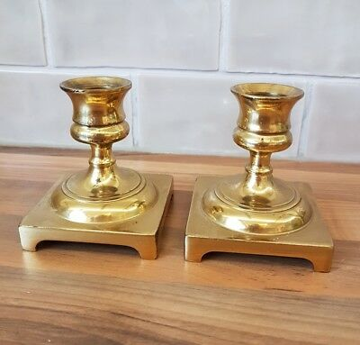 A Pair Of Brass Candle Stick Holders, Short with Square Base, Made In England