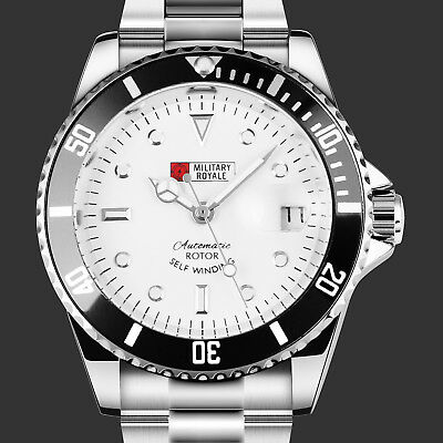 Military Royale Mens Watch Automatic Silver Stainless Steel Case Date Sport Army