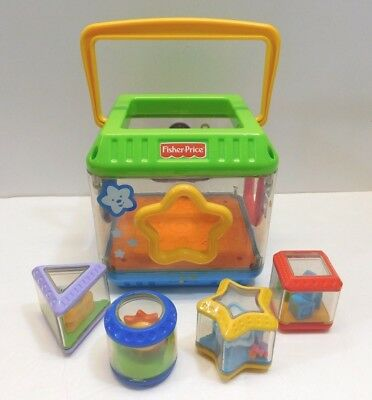 Fisher-Price Peek A Blocks Shape Sorter Musical Baby Toy Bucket 4 Shapes