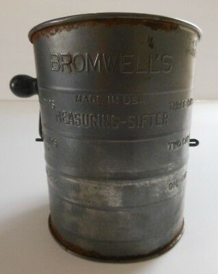 Bromwell Vintage-Sifter-Flour-Measuring-Wood-Handle-Tin-USA-Cooking-Kitchen-Bake