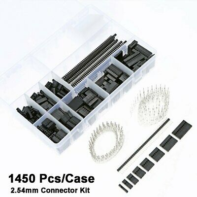 1450Pcs/Box 2.54mm PCB Wire Jumper + Pin Header Housing Connector Kit For Dupont