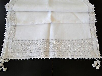 Antique Lace-Exquisite Italian Linen Table Runner W/superb Embroidery,tassels