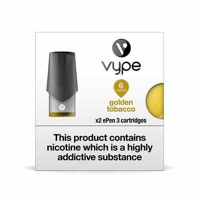 VYPE EPEN 3 Golden Tobacco 6mg-12mg ePen3 Caps Refill Cartridge|up to 10 Packs