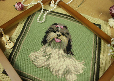 Completed Needlepoint Tapestry Canvas So Vivid Shih Tzu dog Handmade Wool