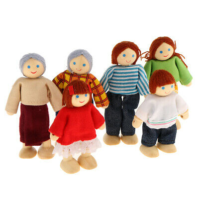 Kids Pretend Role Play Wooden Toy Dollhouse Family Members Set Gift