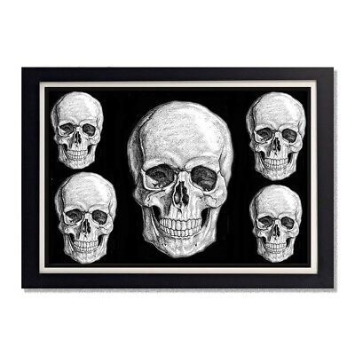 Skulls Smiling on Black Background Reproduction Poster 11x17in 24x36in