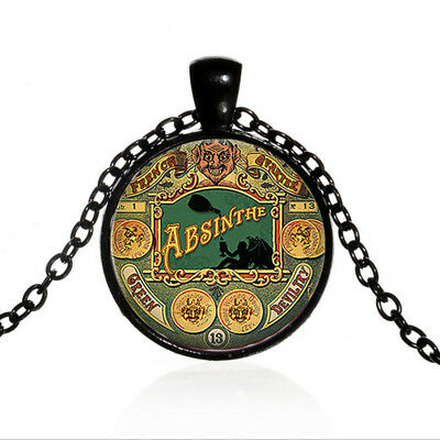 Vintage Steampunk Absinthe Cabochon Black Glass Chain Pendant Necklace