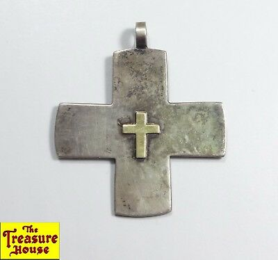 Vintage Italian Made Brindisi BR Solid Sterling Silver w/10K Gold Cross Pendant