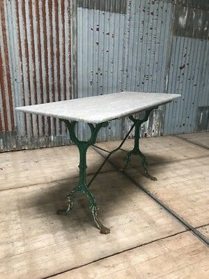 Antique French Cast Iron And Marble Garden Table