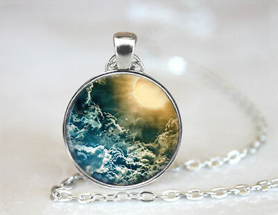 Vintage The Eclipse Jewelry Dome Tibetan silver Glass Chain Pendant Necklace