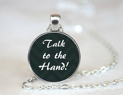 Vintage Talk to the hand Dome Tibetan silver Glass Chain Pendant Necklace