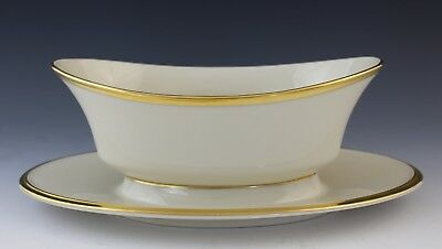 Lenox Eternal Porcelain Gold Gilt Gravy Boat with Attached Underplate