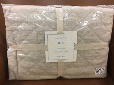 New~Pottery Barn Belgian Flax Linen Nursery Crib Toddler Quilt~Flax Neutral