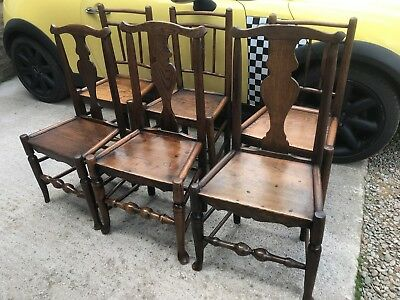 Harlequin Set of 6 Georgian Elm Farmhouse Kitchen Dining Chairs George III 1780