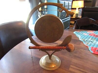 Vintage Etched Solid Brass Fish & Floral Dinner Gong w/ Wooden Hammer India
