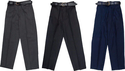 Boy Child School Trousers Stocky Sturdy Wider Fit Half Elasticated Pant Size *UK