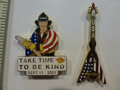 lot of 2 Hard Rock Cafe September 11  9/11 Guitar Pin  Limited edition