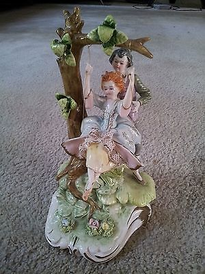 Careful Camodimonte Ceramic Figurine Italy Boy With Girl On A Swing Art Pottery Pottery & Glass