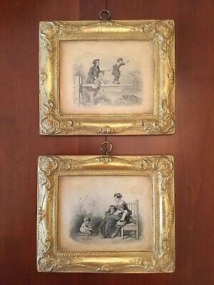 Pair Borghese Rare Gold Gilt Ornate Plaster Picture and Frame