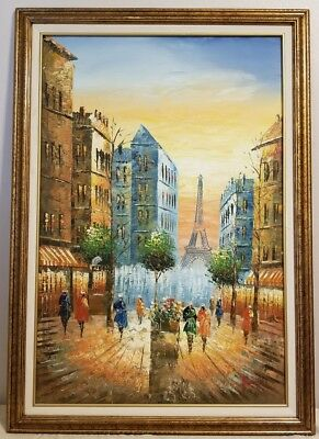 """Paris Street Scene Oil Painting Eiffel Tower 36"""" x 24"""" Signed and Framed"""