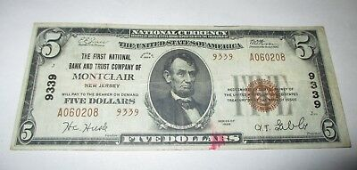 $5 1929 Montclair New Jersey NJ National Currency Bank Note Bill Ch. #9339 VF!