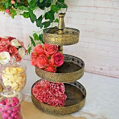 Gold Cupcake Stand - 3 Tier Vintage Antique Style Metal - 52cm Wedding Party