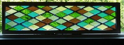 Stained Glass panel in old window frame-Diamond panels