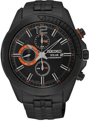Seiko Recraft Solar Chronograph Black Dial Black Ion-plated Mens Watch SSC383