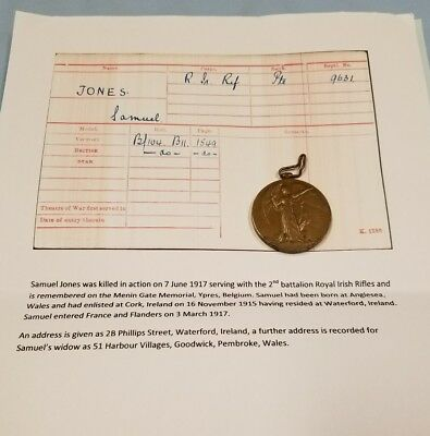 WW1 Irish KIA Victory Medal 6/7/1917 Waterford Ireland, Royal Irish Rifles