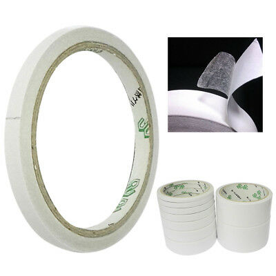 10M Double Sided Clear Sticky Tape DIY Strong Craft Adhesive Office School White