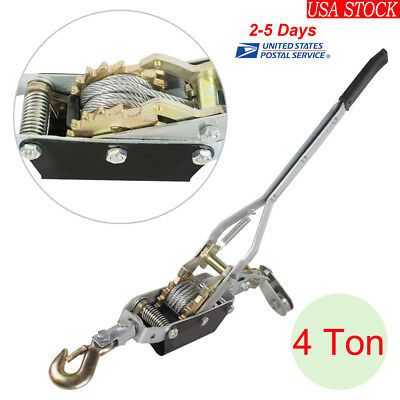 4Ton Come Along Hoist Ratcheting Hand Cable Winch Puller Crane Comealong USA!