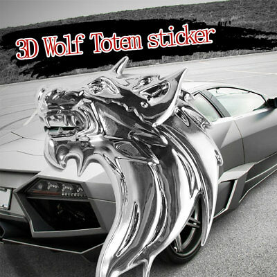 New Wolf-Head 3D Metal Auto Car Grill Badge Logo Totem Grille Emblem Sticker EE