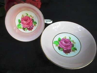 1950s ROSINA England Large PINK Cabbage Rose Cup and Saucer