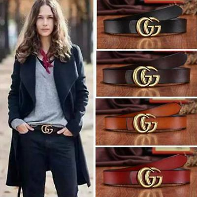 GG Buckle Genuine Leather Belts Women's Gift Jeans Belt With Letter  wide 2.8cm