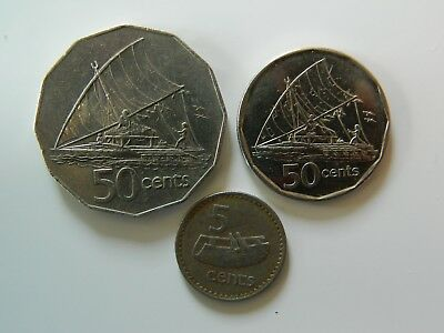 FIJIAN COINS, 1982 50 cent,2009 50 cent and a 1979 5 cent. All good quality.
