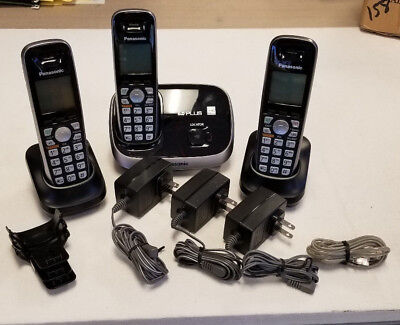 >> Panasonic DECT 6.0 Expandable Black Cordless Phone w/ 2 Xtra Handsets