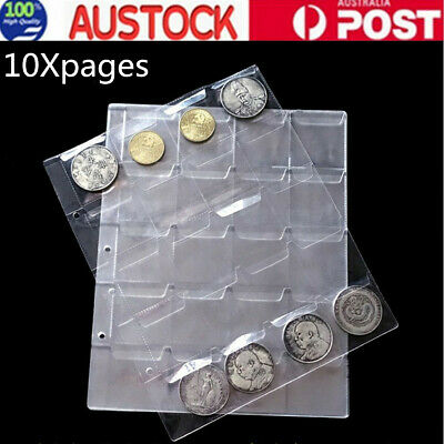 10x Coin Collection Pages 20 Pockets Plastic Coin Holders Collection Storage AU