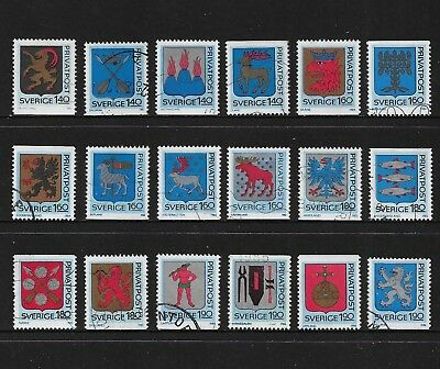 SWEDEN mixed collection, Rebate stamps, Arms of Swedish Provinces, used