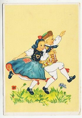 GERMANY - Dancing Children - 1944 used postcard with Hitler Stamp