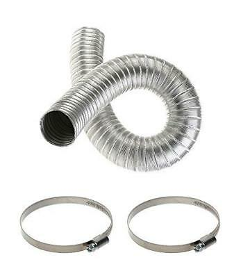 Aluminium Flexible Hose 90mm with Two Clips 80mm-100mm Ducting Pipe Tubing