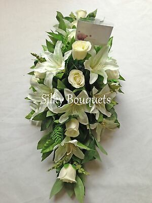 Artificial Silk Funeral Flower Coffin Spray Casket Topper White Floral Tribute