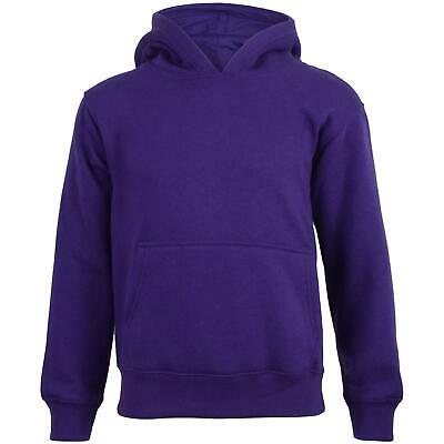 Kids Girls Boys Sweat Shirt Tops Plain Purple Hooded Jumpers Hoodies Age 2-13 Yr