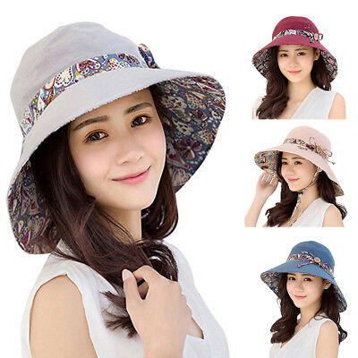 Women Summer Hat Travel Cap Folding Wide Brim Floppy Caps Beach Sun Hats Eager