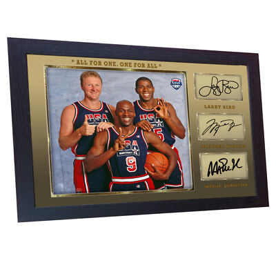122897942dc Michael Jordan Larry Bird Magic Johnson signed autograph NBA USA Olympic  Framed.