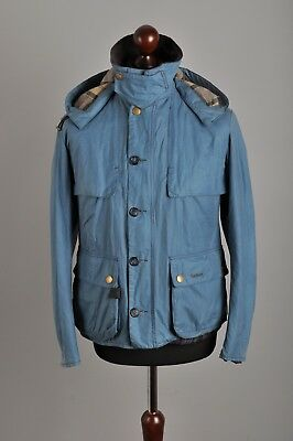 RARE Men's BARBOUR SMU Gladwell Waxed Cotton Blue Hooded Jacket Coat Size S